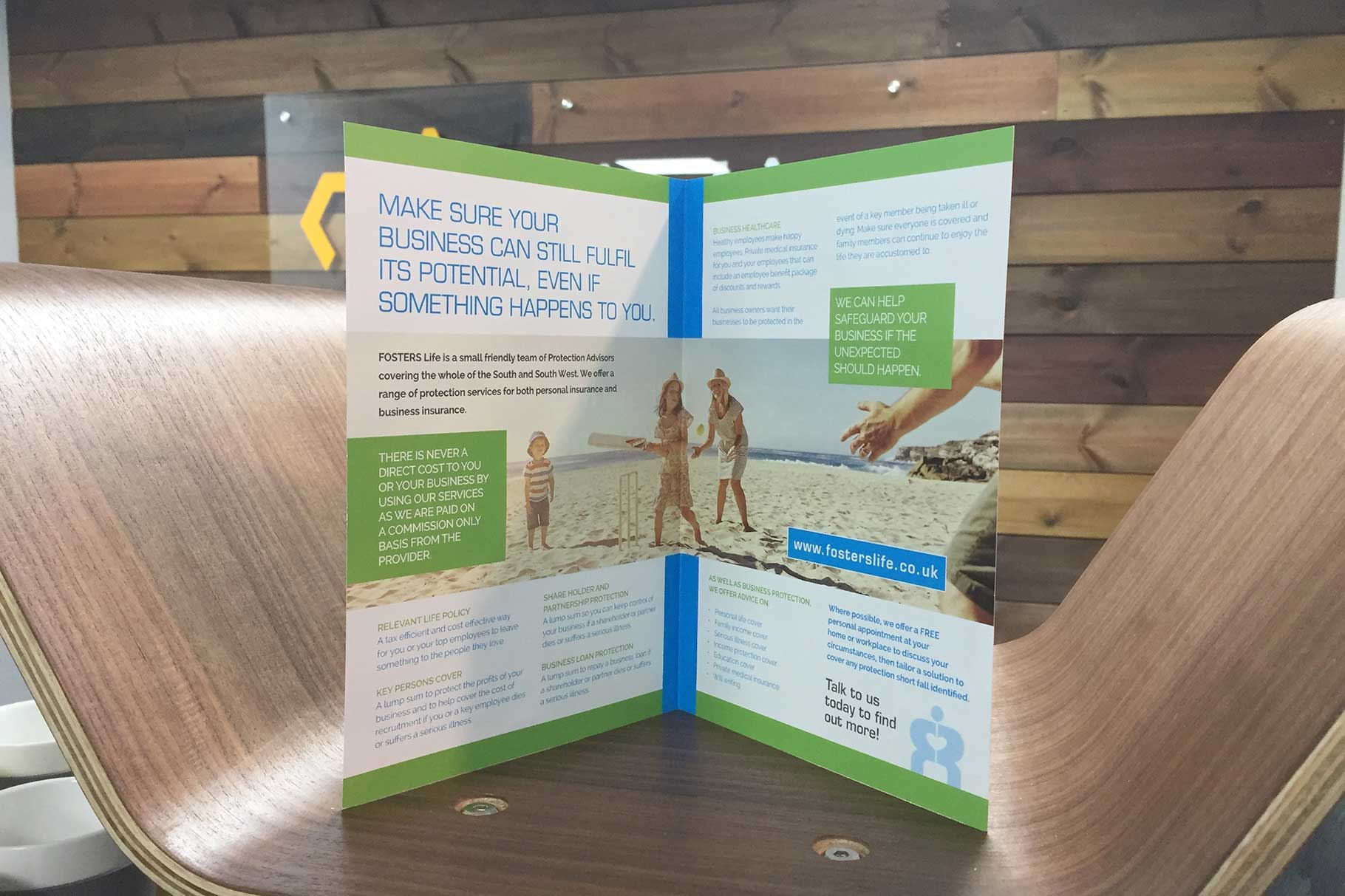 Leaflet design for life insurance company in Clevedon, Somerset