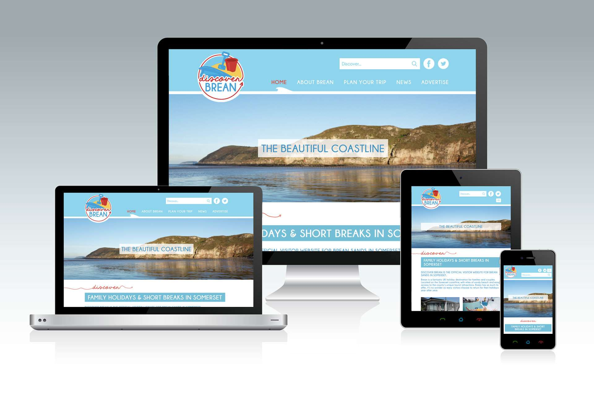 Discover Brean tourism website design, Somerset
