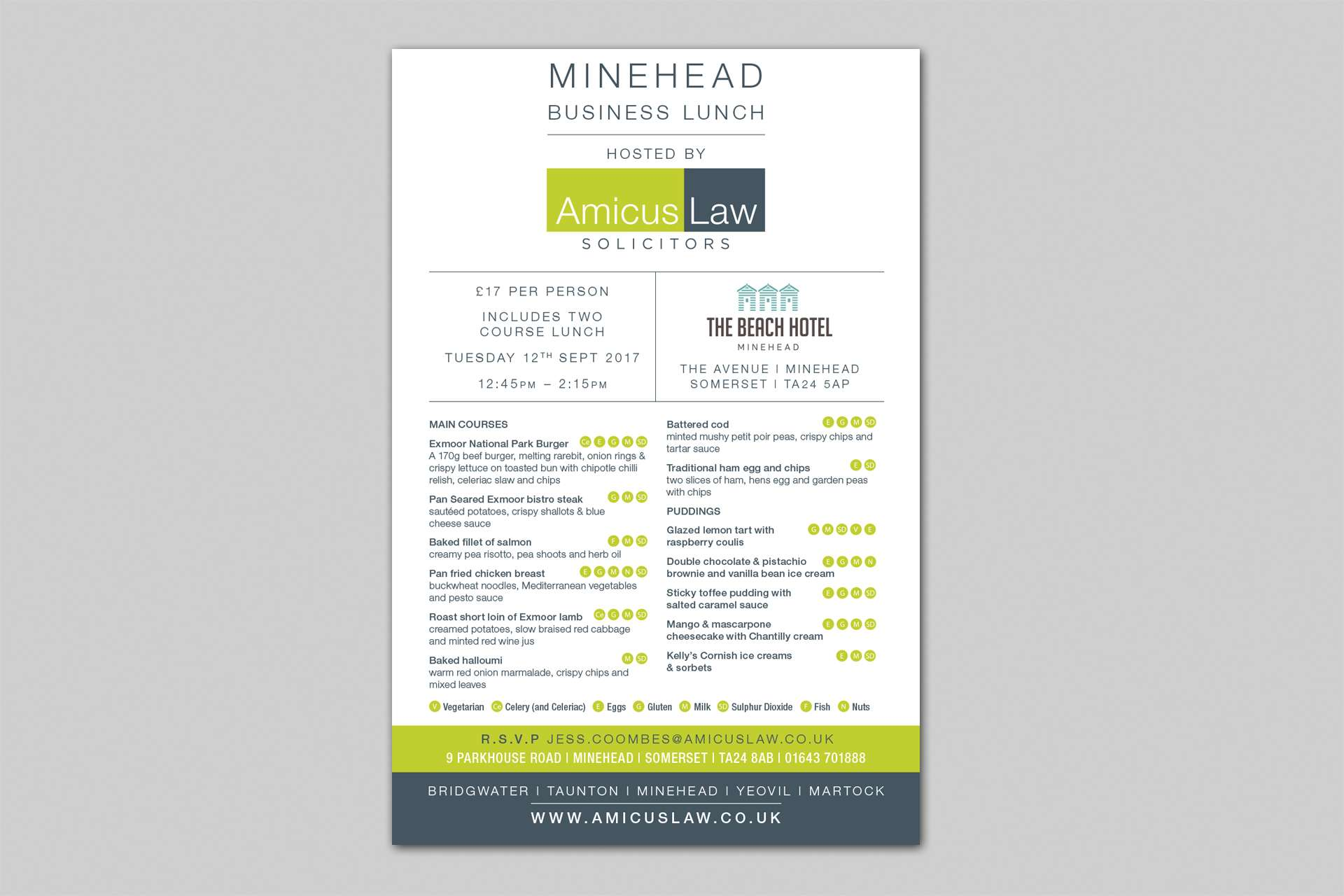 Amicus Law Solicitors Menu Design, Somerset