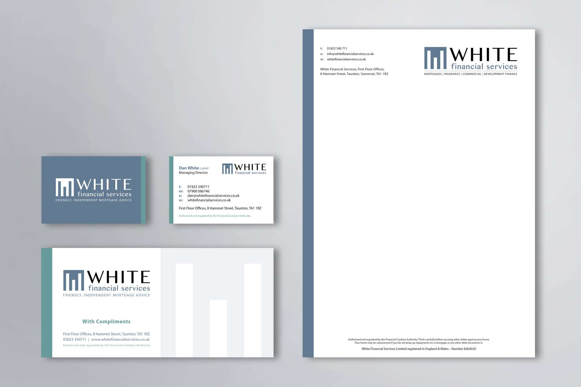 White Financial Business Stationery Design Taunton Somerset