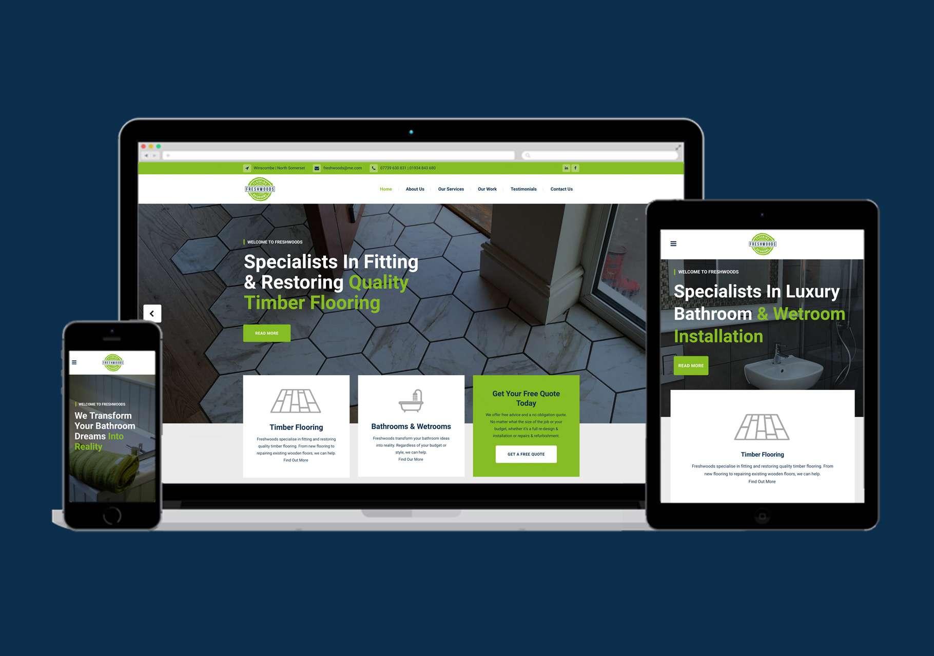 Freshwoods flooring bathrooms website design somerset