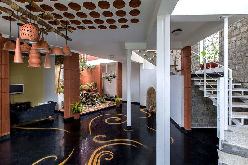 Interior That Blends Traditional Indian Features And