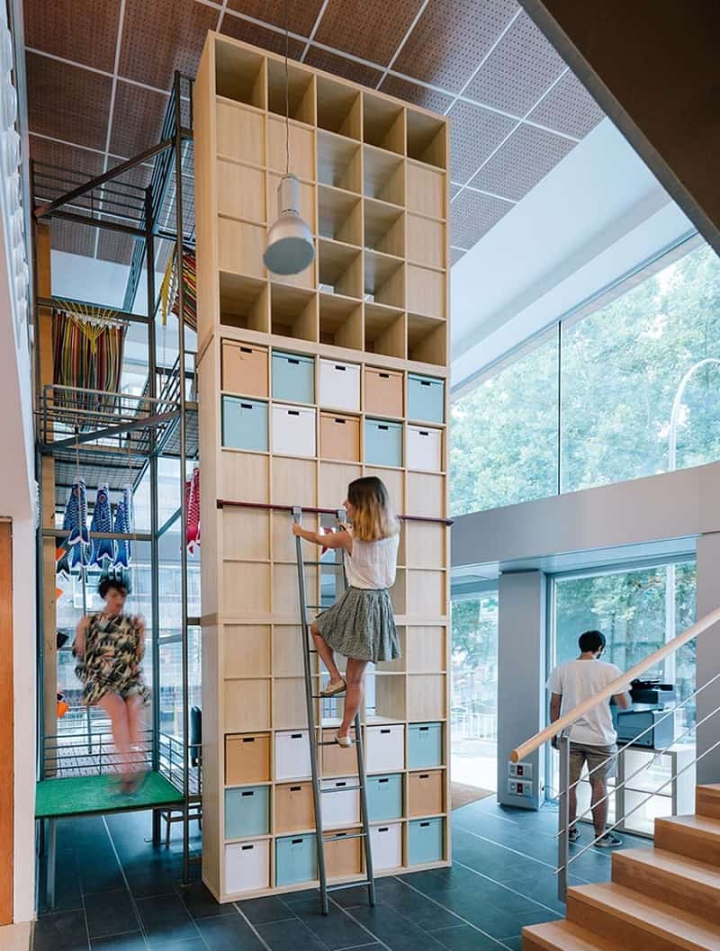 Fun coworking space in Madrid furnished with IKEA furniture