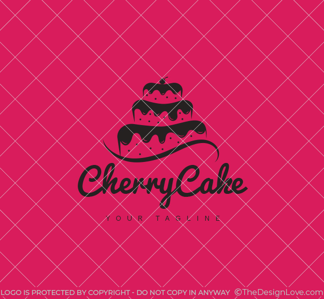 Cherry Cake Logo  Business Card Template  The Design Love