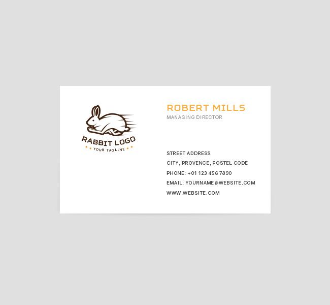 Running Rabbit Logo  Business Card Template  The Design Love