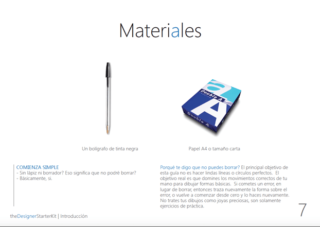 the Designer Starter Kit eBook Materiales in Spanish