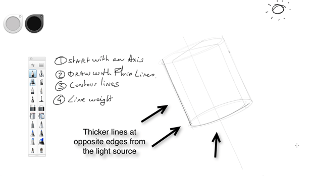 Draw the line weight opposite from the source light