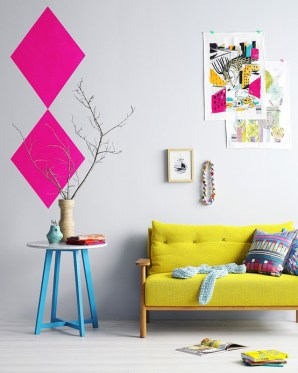 Lounge with neon pops | via craft victoria