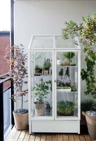 "The Finnish gardening supply company Kekkilä sells the ""Odlingsvitrin"" cabinet (which the company translates as ""Green Vitrine"") | via http://www.skonahem.com/inredning/balkong-uterum/Inred-balkongen"