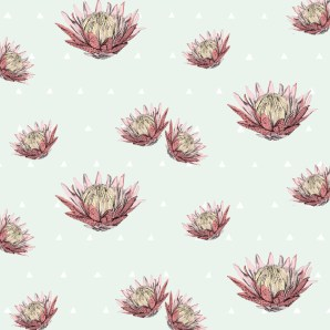 A fresh polka dot and protea design.