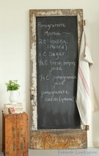 Love this rustic door chalkboard - it would look right at home in ShabbyChic country kitchen!   via http://frenchlarkspur.blogspot.com/2013/01/chippy-white-chalkboard-love-and.html