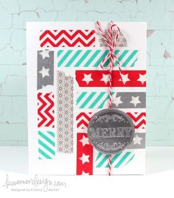 Love this patchy washi tape greeting card - looks so cheerful! | via http://www.kwernerdesign.com/blog/?p=9133