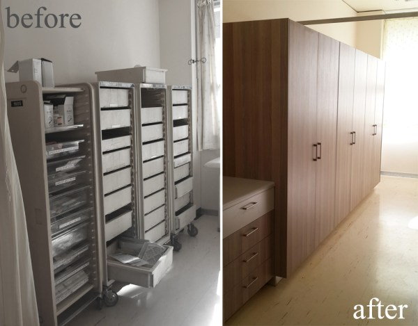 The new cabinetry set up in the Medical Storage Room - what an amazing difference it makes.