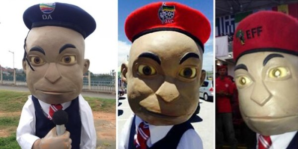 "Political Berets by the EFF, ANC and DA | To vote for this object, SMS ""BERET 4 MBOISA"" to 40619."