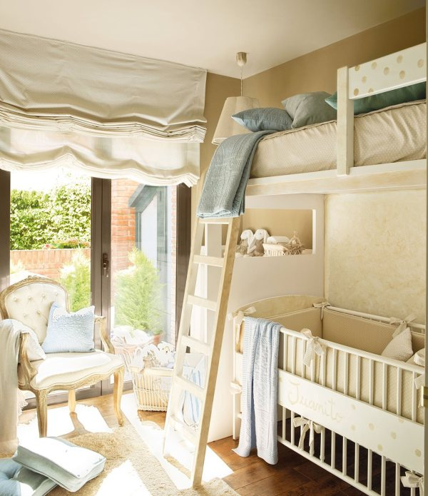 bunk bed with baby crib below
