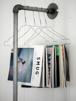 Decor Quick Tip - Clothes Hanger Magazine Rack