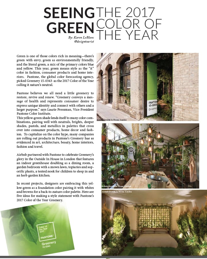 Pantone 2017 Color of the Year, an article by Karen LeBlanc appearing in La Palme Magazine