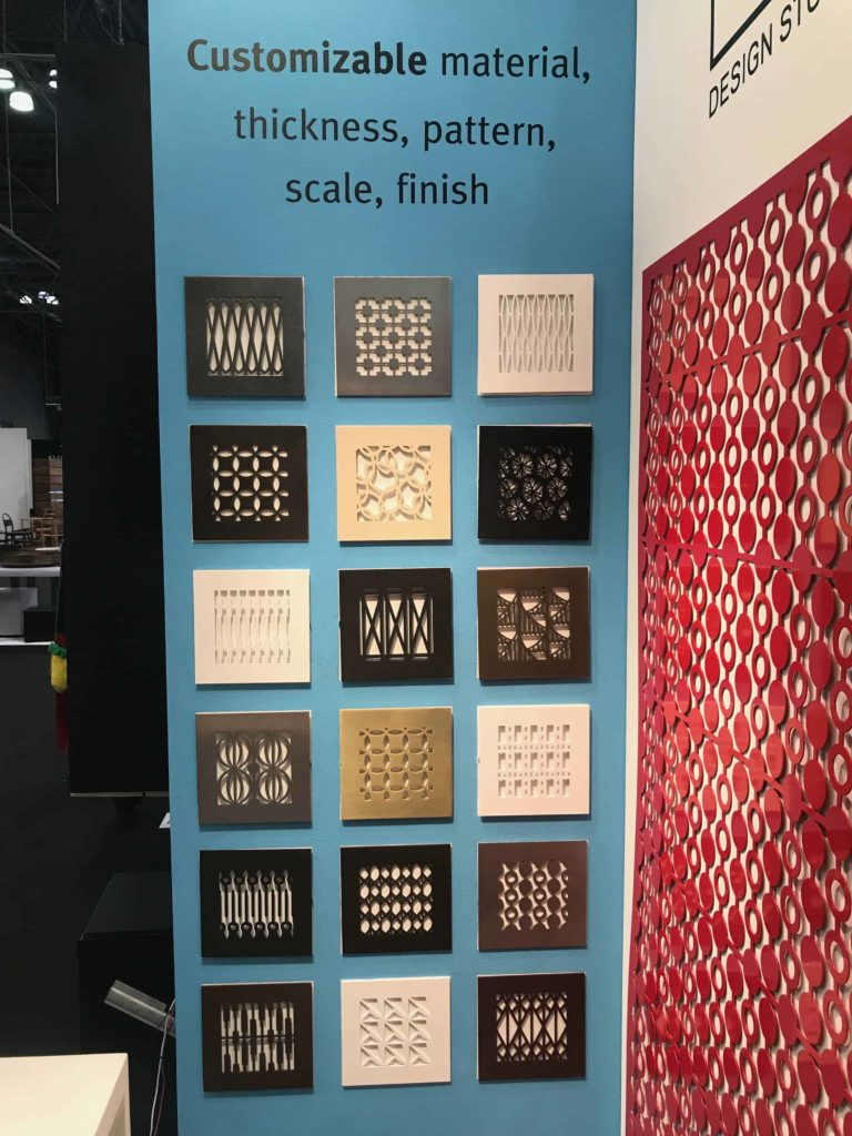 AJK Design Studio booth displays Annie Kantor's latest metal grille and panel designs on view at ICFF. Photo credit: The Design Tourist