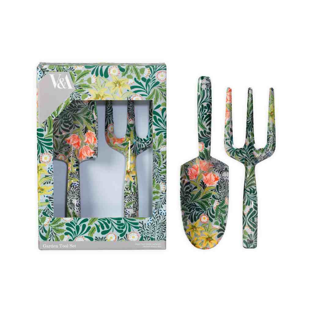 Gardening set featuring a William Morris botanical print from Victoria & Albert Museum available for sale in the gift shop