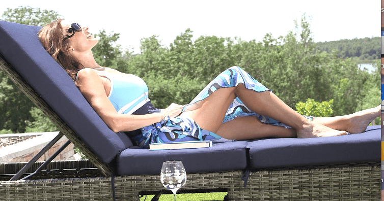 The Design Tourist aka Karen LeBlanc sunbathing with the Two Way Chaise Lounge.