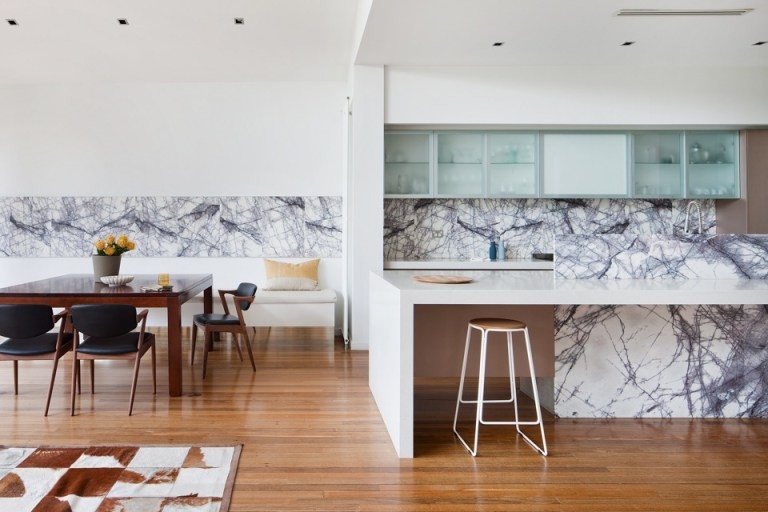 Kitchen with feature marble. Photography: Shannon McGrath