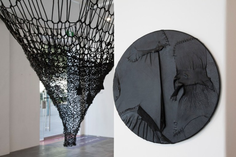 Left: Vortex, woven leather, rope and oiled stone (2015). Right: Eclipse, salvaged and burnt leather and linen thread on board (2015). Photo: supplied Australian Design Centre