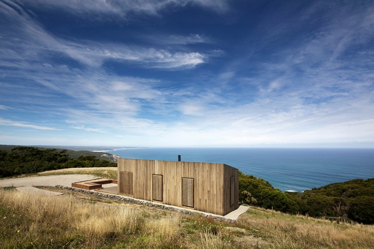 The coast is rugged and windswept - Moonlight Cabin by JCB. Photo: Jeremy Weihrauch of Gollings Studio