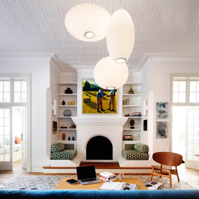 Pressed metal ceiling, living space, design by Luigi Rosselli Architects. Photo: Justin Alexander