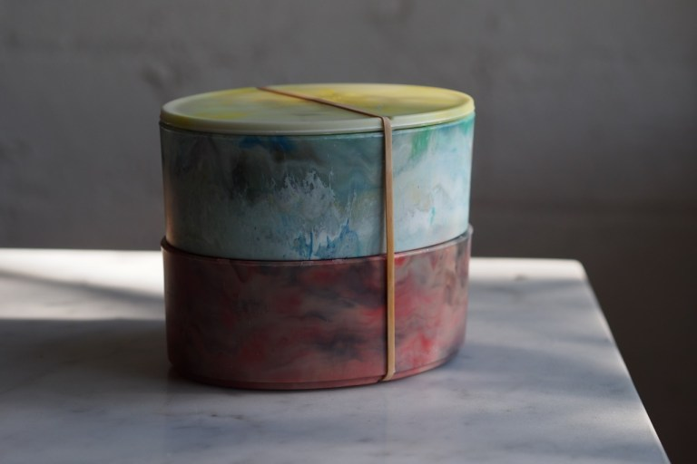 Bento Boxes made of recycled marine plastic designed by Andrew Simpson and Sarah K