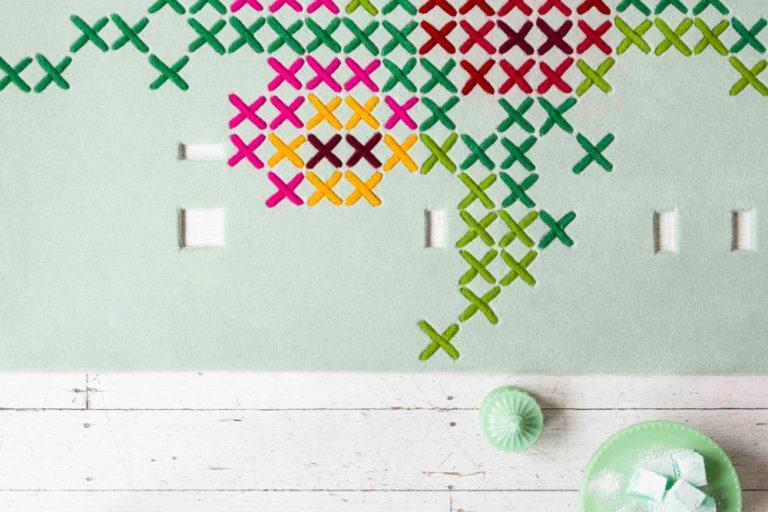 Cross Stitch by Petrina Turner for Designer Rugs. The Design Writer blog.