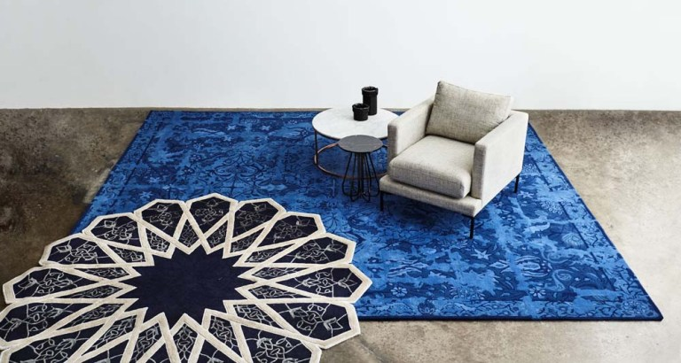 Erased Antique in Cobalt with Interlaced rug by Tappeti. The Design Writer blog.