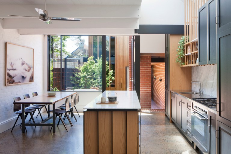 Kitchen dining at Carlton Cloister House by MRTN Architects. Photo: Shannon McGrath The Design Writer blog