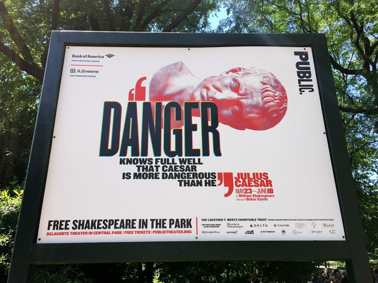 Paula Scher's campaign for The Public Theatre in Central Park. Photo: Jane Connory