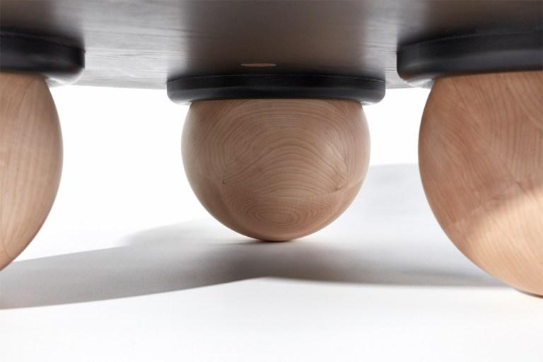 Beraking table (detail of spherical legs) by Jack Flanagan. Photo: Toby Peet. Image: The Design Writer