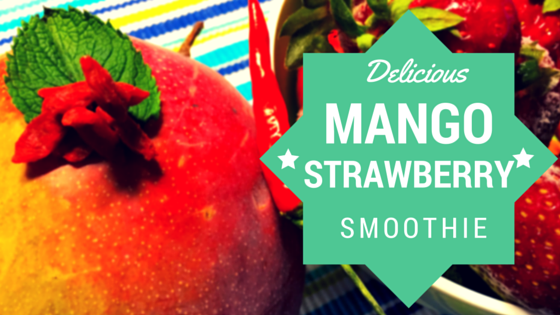 Healthy energy booster smoothie with strawberry, mango and goji berry