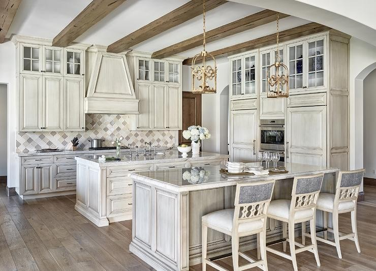 antique white kitchen cabinets small remodeling ideas gray with cream and arabesque tiles