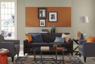 room living paint colors wall orange interior sherwin williams reynard sw painting colours rooms pop colour combination designs unexpected features