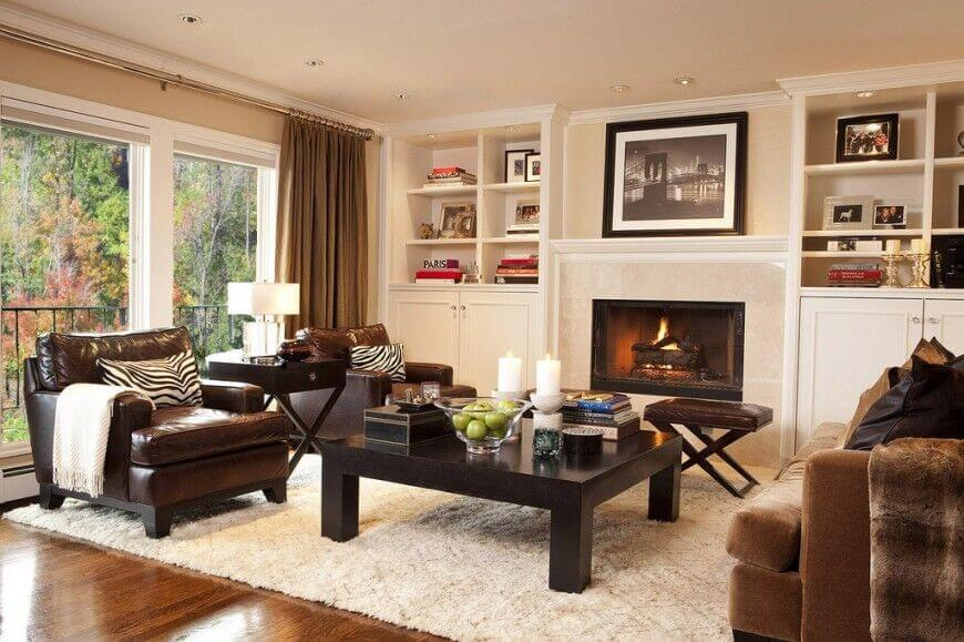 living room brown leather ideas fireplace uk decorating family furniture elegant 25 cozy tips and for small big rooms pertaining to 16