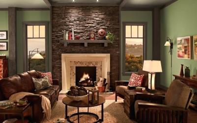 living room rustic paint colors wall accent rooms olive fireplace different cream country interior decor walls arts crafts colours sofa