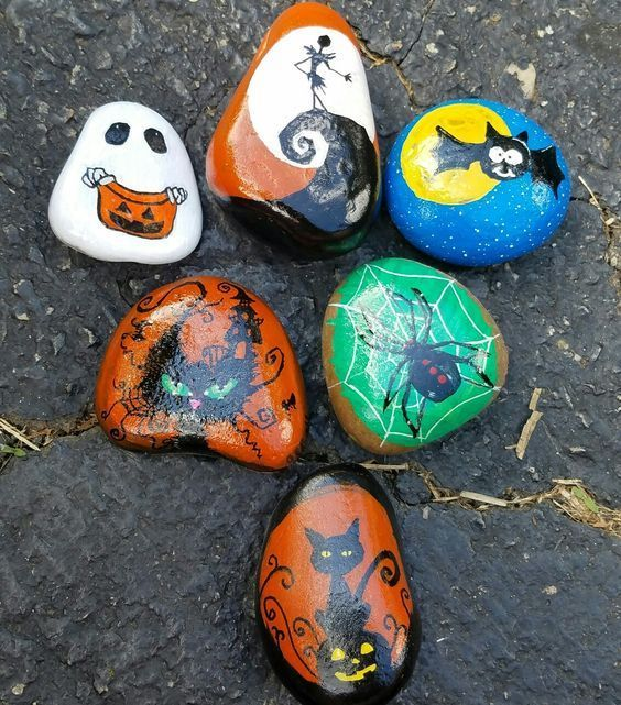 Have fun with halloween makeup! 80 Scary Halloween Painted Rock Ideas