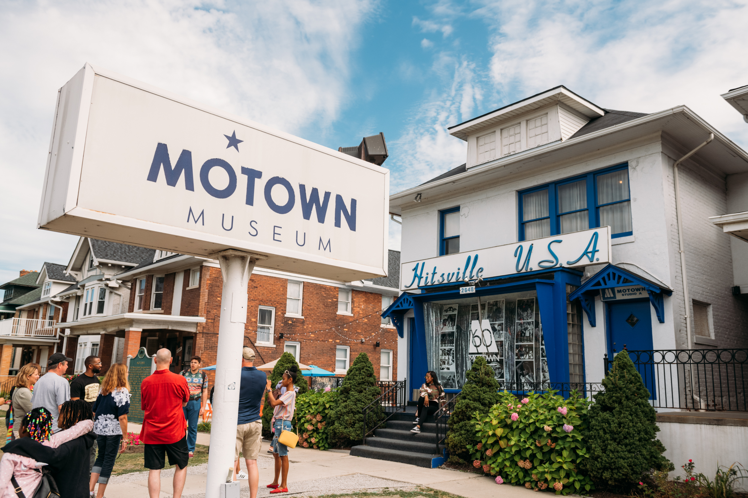 A front view of the Motown Museum during our Black History Tour