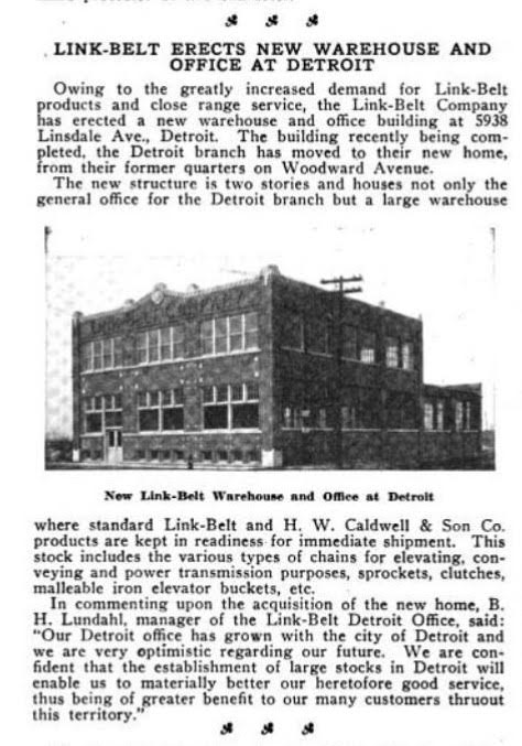 A newspaper clipping about 5938 Linsdale Detroit at the Link-Belt Warehouse