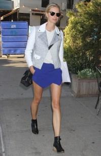 Karolina Kurkova in blue Zara mini skort
