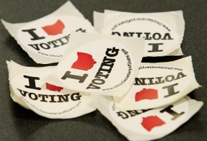 Voting stickers lay on a table at the Kings Art Center in Columbus, Ohio. Ohio was one of the 2012 election's most hotly contested states. (Jay LaPrete/Getty Images)