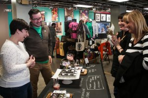 Vendors and shoppers at Crafty Mart's April pop-up market in the Summit Artspace during the Downtown Akron Artwalk (PHOTO: Svetla Morrison)