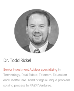 Todd Rickel's bio on the RAZRVentures website where blogged as $Doctor until May 2015.