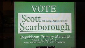 Images are stills from Dr. Scarborough's 1990 Republican Primary campaign for District 48 in the Texas House of Representatives. (Courtesy of Julian P. Kanter Political Commercial Archive at the University of Oklahoma)