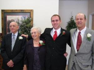 Pop, Mammaw, my little brother Jeff on his wedding day, and my Padre