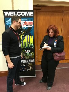 Megan Combs interviewing radio host Brian Dunphy at Akron's ComicCon. (Photo courtesy of Megan Combs.)