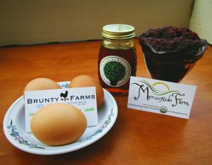 Honey from Greenfield Berry Farm, Beets from Morningside Farm, Eggs from Brunty Farms (PHOTO: Paul Mangus)